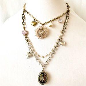 Betsey Johnson Beaded Heart Locket Charm Necklace